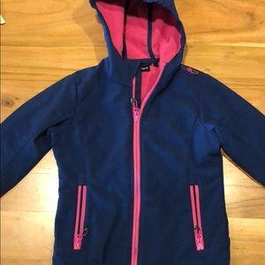 Girls CMP hard shell fleece lined jacket